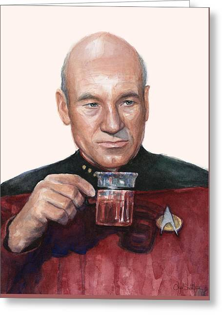 Captain Picard Star Trek Tea. Earl Grey. Hot. Greeting Card by Olga Shvartsur