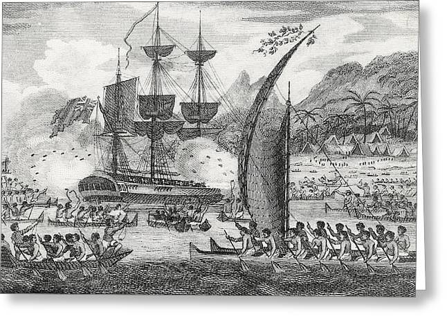 Captain Wallis Attacked By The Indians, 1767  Greeting Card by English School