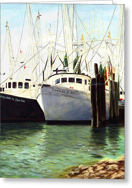 Greeting Card featuring the painting Captains Smith Morehead City North Carolina Original Fine Art Oil Painting by G Linsenmayer