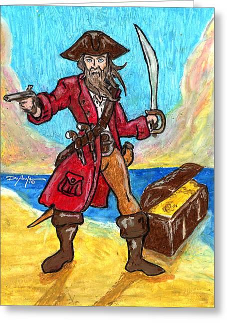 Captain's Treasure Greeting Card by William Depaula