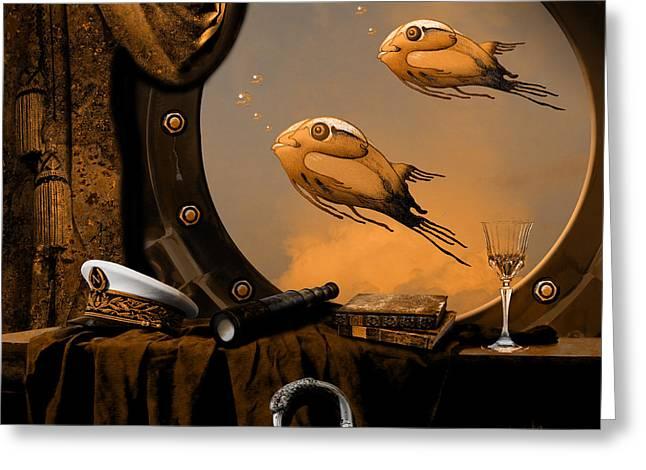 Greeting Card featuring the digital art Captan Nemo's Room by Alexa Szlavics