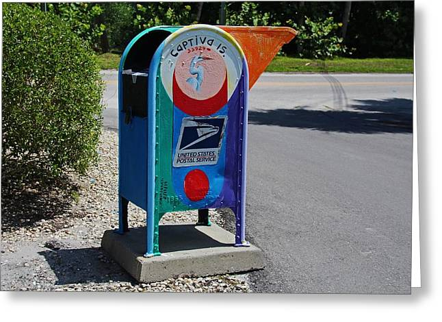 Greeting Card featuring the photograph Captiva Island Mailbox- Horizontal by Michiale Schneider