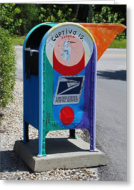 Greeting Card featuring the photograph Captiva Island Mailbox- Vertical by Michiale Schneider