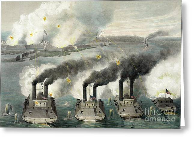 Capture Of Fort Henry By Us Gun Boats Under The Command Of Flag Officer Foote Greeting Card