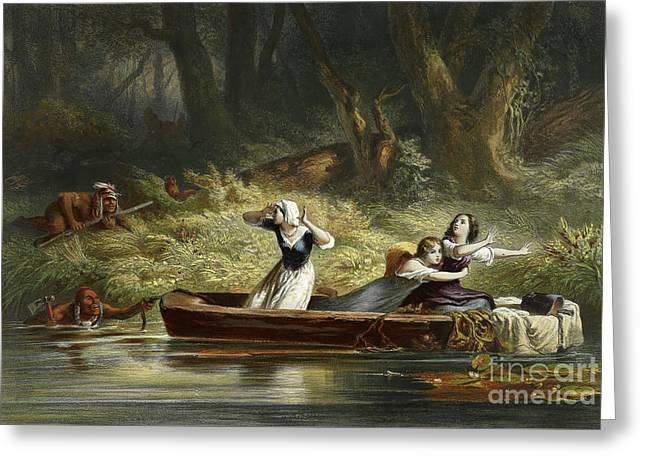 Capture Of The Daughters Of Daniel Boone And Richard Callaway By The Indians Greeting Card by Karl Bodmer