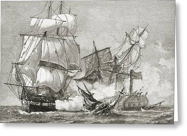 Capture Of The Guerriere By The Constitution Greeting Card