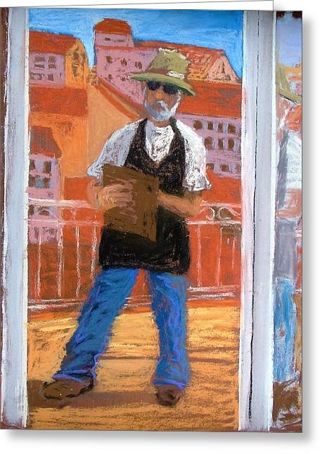 Greeting Card featuring the painting Captured In Antibes by Gary Coleman