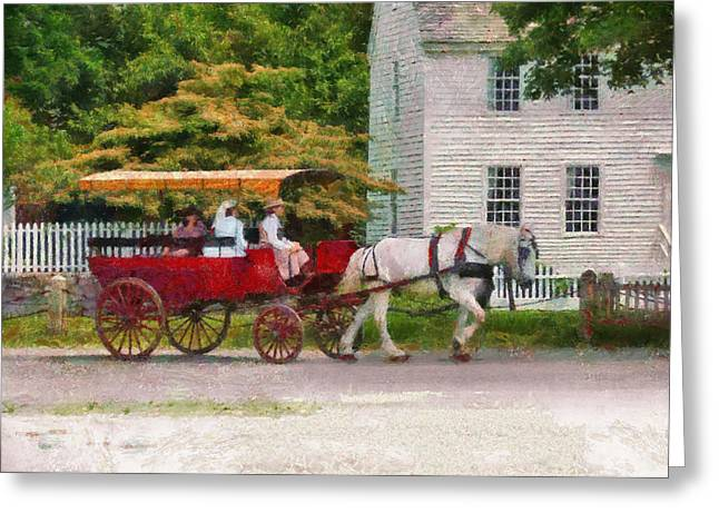 Car - Wagon - On Way To The Market  Greeting Card by Mike Savad