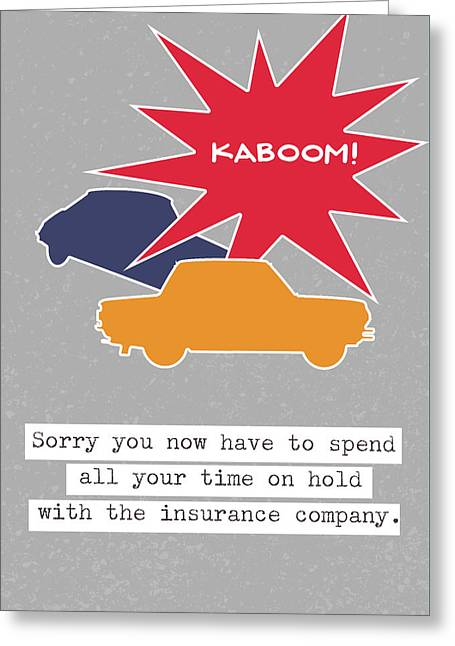 Car Accident Card- Art By Linda Woods Greeting Card by Linda Woods