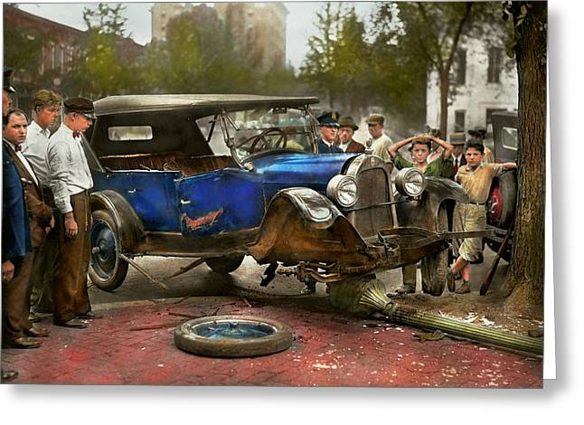 Car Accident - It Came Out Of Nowhere 1926 Greeting Card by Mike Savad