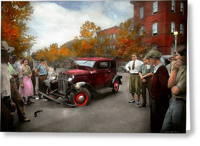 Car - Accident - Late For Tee Time 1932 Greeting Card by Mike Savad