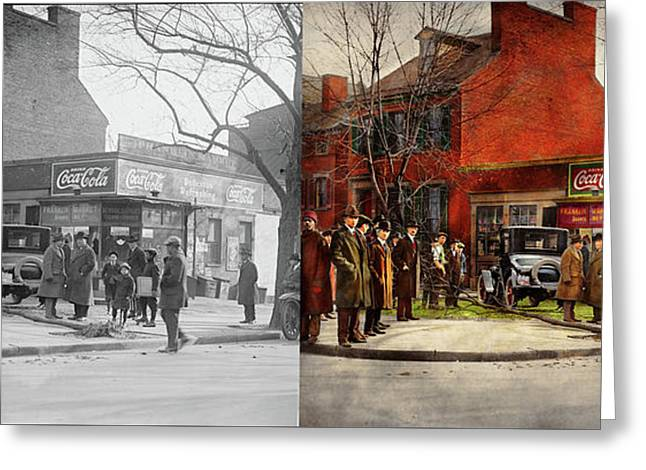 Greeting Card featuring the photograph Car - Accident - Looking Out For Number One 1921 - Side By Side by Mike Savad