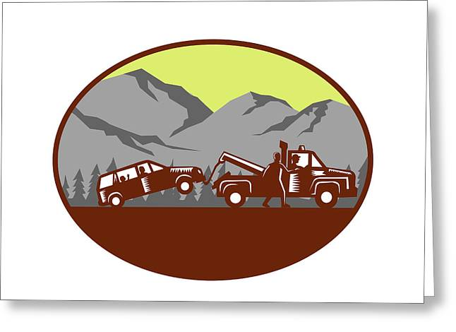 Car Being Towed Away Mountains Oval Woodcut Greeting Card by Aloysius Patrimonio