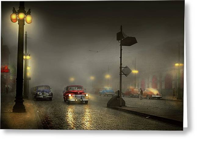 Greeting Card featuring the photograph Car - Down A Lonely Road 1940 by Mike Savad