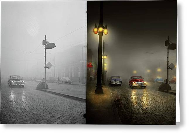 Greeting Card featuring the photograph Car - Down A Lonely Road 1940 - Side By Side by Mike Savad