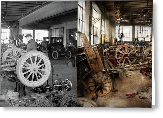 Car - Garage - Blue Collar Work 1923 - Side By Side Greeting Card by Mike Savad