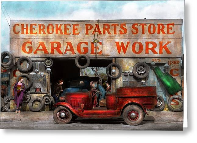 Car - Garage - Cherokee Parts Store - 1936 Greeting Card by Mike Savad