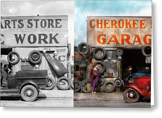 Car - Garage - Cherokee Parts Store - 1936 - Side By Side Greeting Card