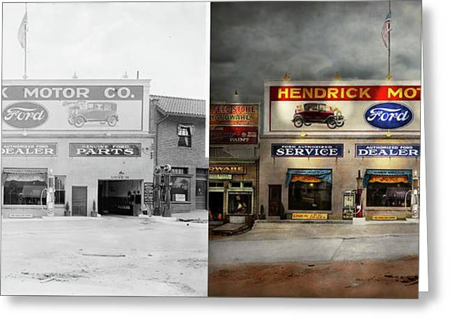 Greeting Card featuring the photograph Car - Garage - Hendricks Motor Co 1928 - Side By Side by Mike Savad