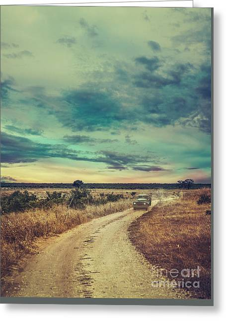 Car In The Night Greeting Card by Mythja Photography