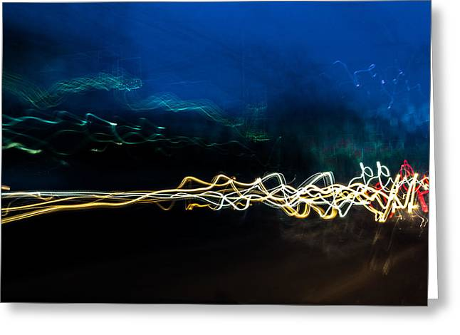 Car Light Trails At Dusk In City Greeting Card