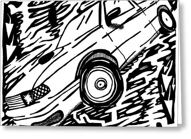 Car Maze  Greeting Card by Yonatan Frimer Maze Artist