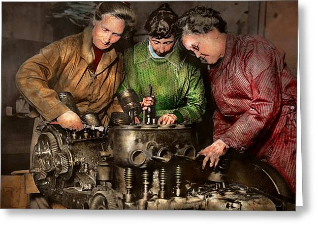 Car Mechanic - In A Mothers Care 1900 Greeting Card by Mike Savad