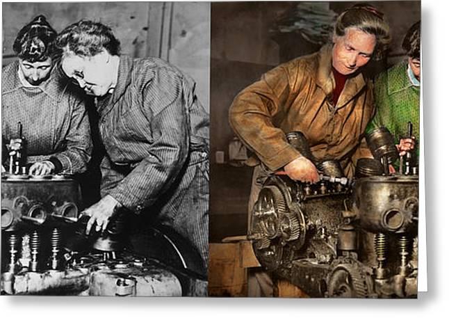 Car Mechanic - In A Mothers Care 1900 - Side By Side Greeting Card by Mike Savad