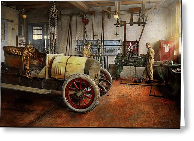 Car Mechanic - The Overhaul 1915 Greeting Card by Mike Savad