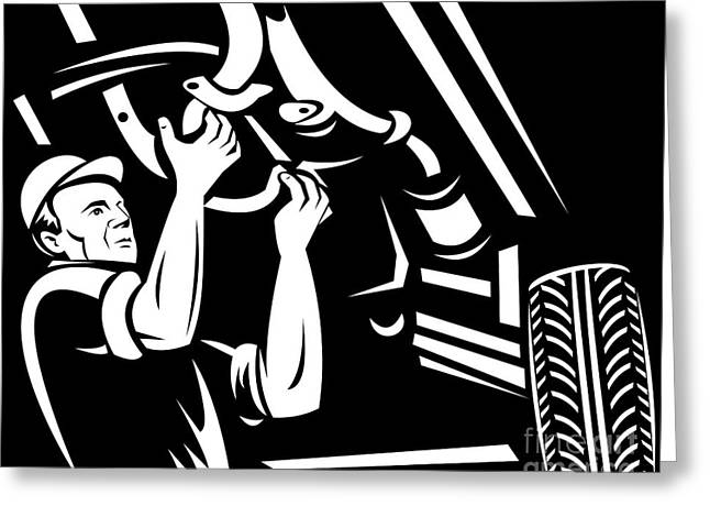 Car Mechanic Working Greeting Card by Aloysius Patrimonio