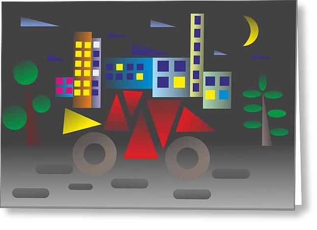 Car Night - My Www Vikinek-art.com Greeting Card