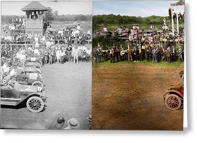 Car - Race - On The Edge Of Their Seats 1915 - Side By Side Greeting Card