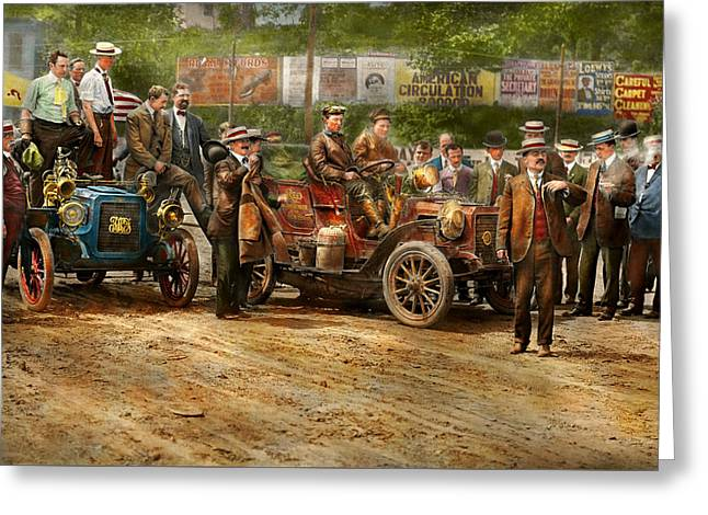 Car - Race - The End Of A Long Journey 1906 Greeting Card