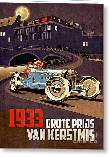 Car Racing Christmas Poster Of The 30s Greeting Card