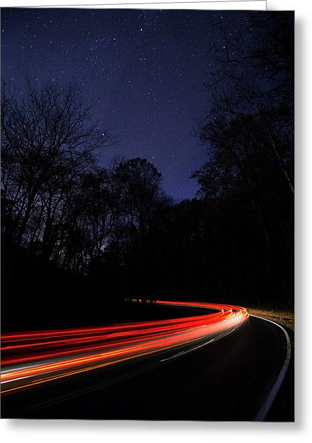 Car Trails Greeting Card
