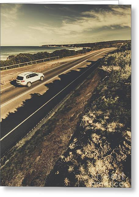 Car Travelling The Great Ocean Road Greeting Card by Jorgo Photography - Wall Art Gallery