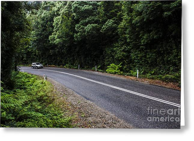 Car Travelling Through Rainforest In West Tasmania Greeting Card by Jorgo Photography - Wall Art Gallery