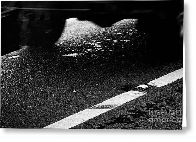 Car With Trailer Driving Past Cats Eye And White Paint In The Centre Of A Wet Irish Rural Road In Co Greeting Card