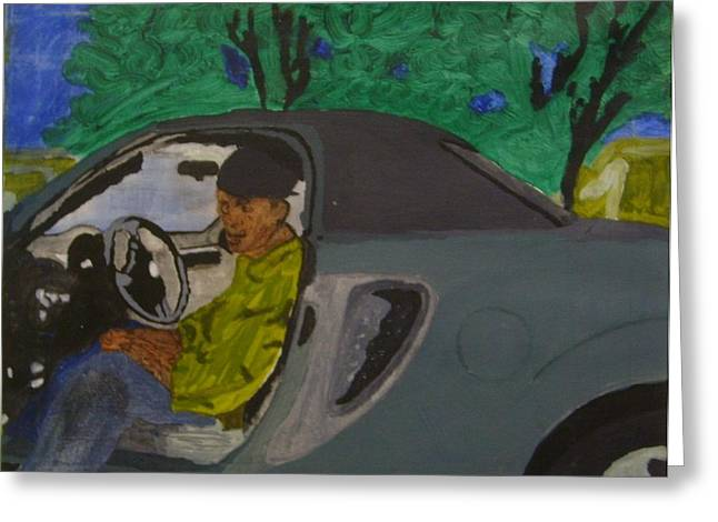 Car Greeting Card by Yetha Lumumba