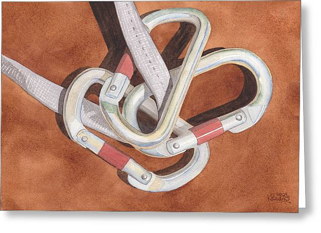 Carabiners Greeting Card by Ken Powers
