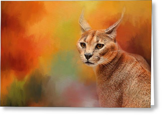 Caracal In Autumn Greeting Card