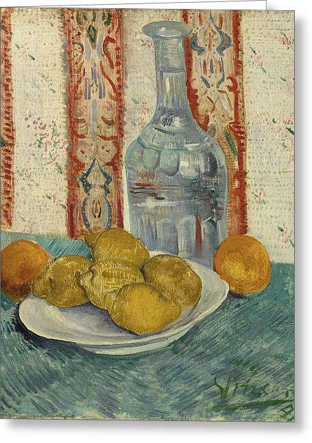Carafe And Dish With Citrus Fruit Greeting Card by Vincent Van Gogh