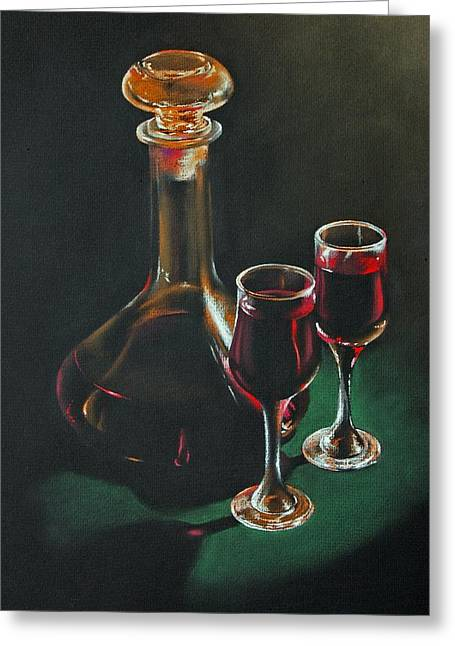 Carafe And Glasses Greeting Card by Alan Stevens