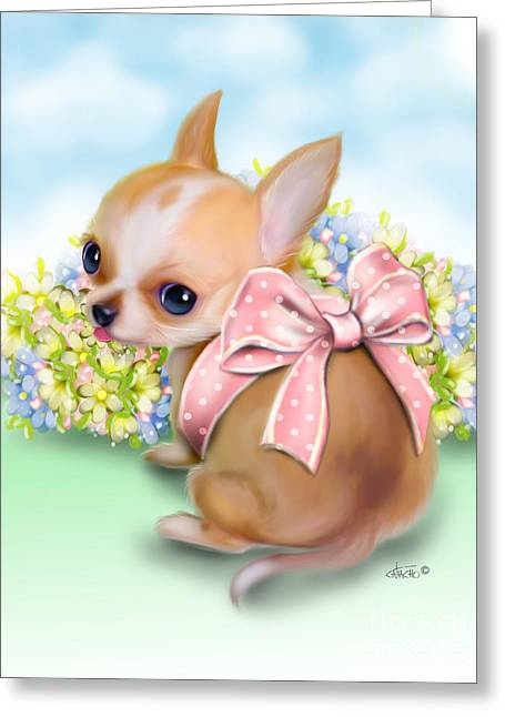 Greeting Card featuring the painting Caramel Chihuahua Baby by Catia Lee