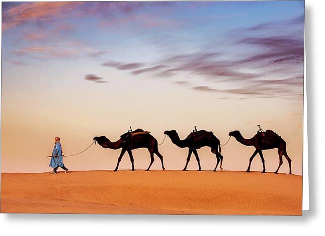 Caravan Greeting Card by Okan YILMAZ