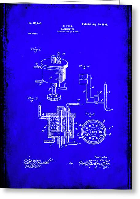 Carbureter Patent Drawing 1a Greeting Card by Brian Reaves