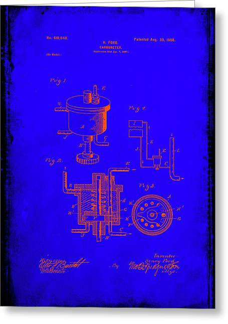 Carbureter Patent Drawing 1b Greeting Card by Brian Reaves