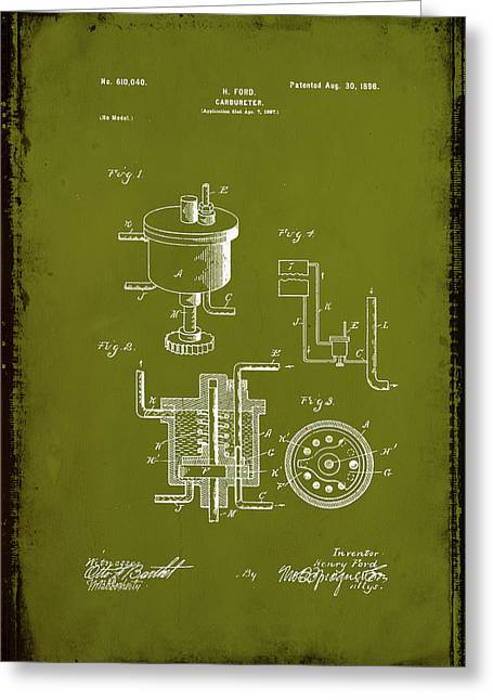 Carbureter Patent Drawing 1c Greeting Card by Brian Reaves