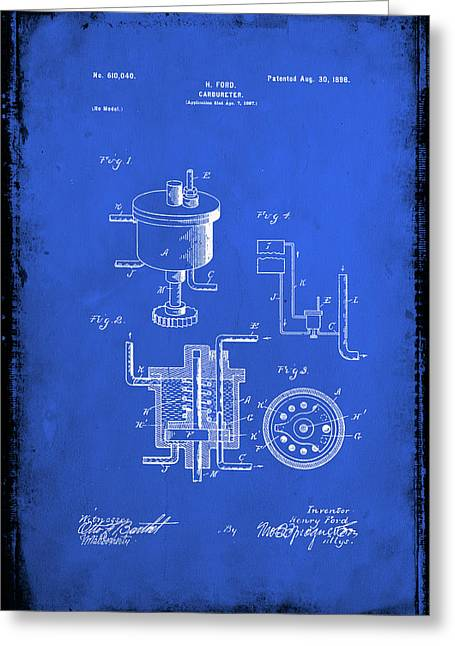 Carbureter Patent Drawing 1d Greeting Card by Brian Reaves