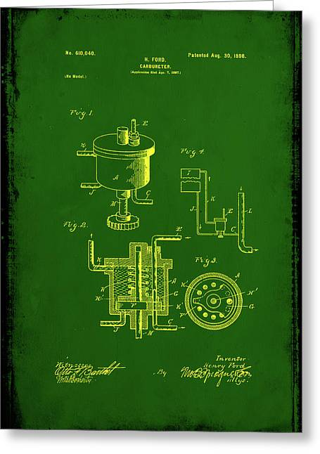 Carbureter Patent Drawing 1e Greeting Card by Brian Reaves